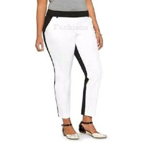f7854dab23c9e Details about Womens Ava Viv Plus Size Black   White Tux Ankle Pants NWOT A1