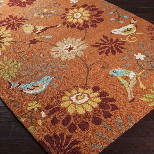 Small Indoor Outdoor Area Rug Rustic Orange Bird Floral