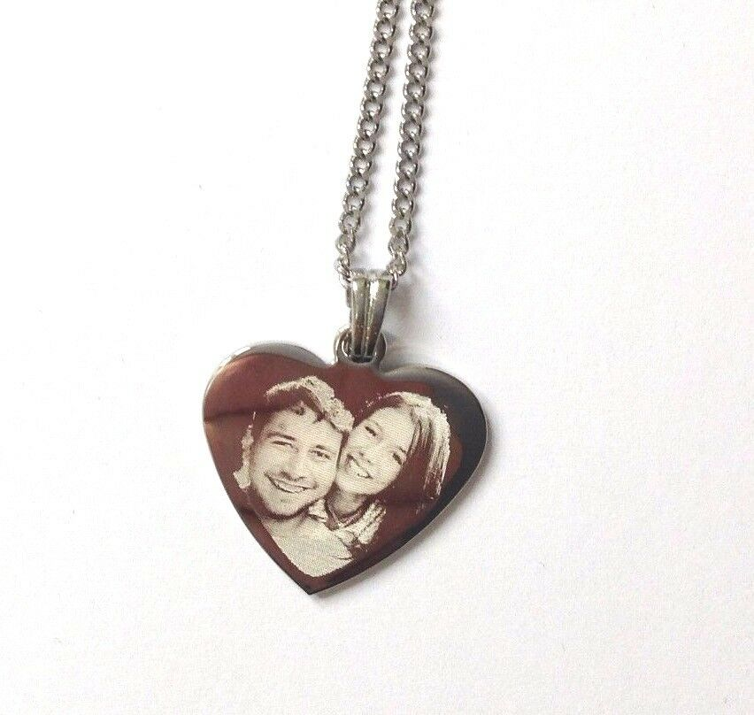 personalised photo text engraved necklace pendant