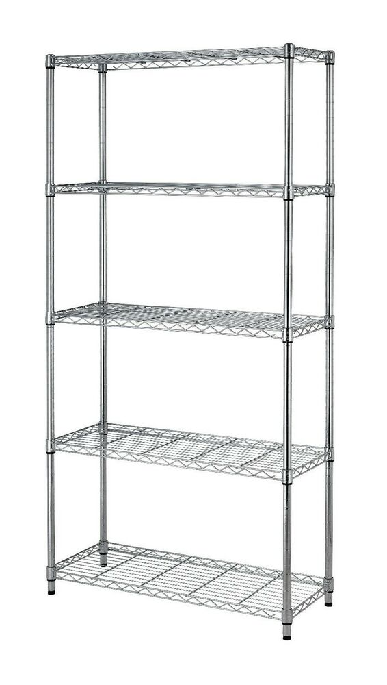metal shelf rack 5 tier wire shelving black chrome adjustable steel metal 23277