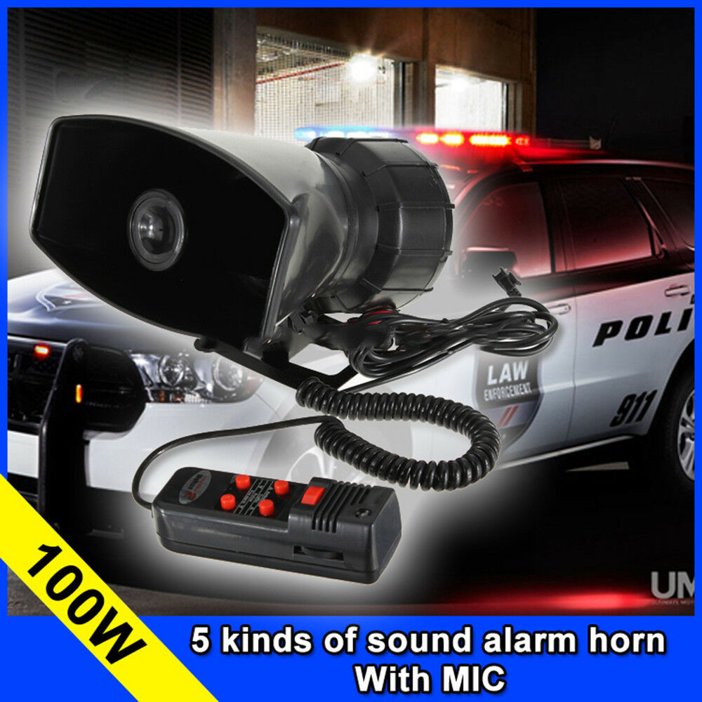 100w loud car warning alarm police fire siren horn loud speaker mic 5 sound 12v ebay. Black Bedroom Furniture Sets. Home Design Ideas
