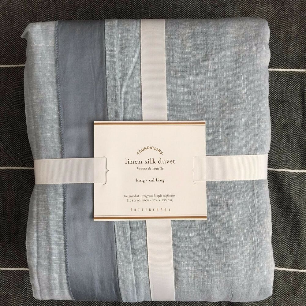Pottery Barn Linen With Silk Trim King Duvet Cover Ashley