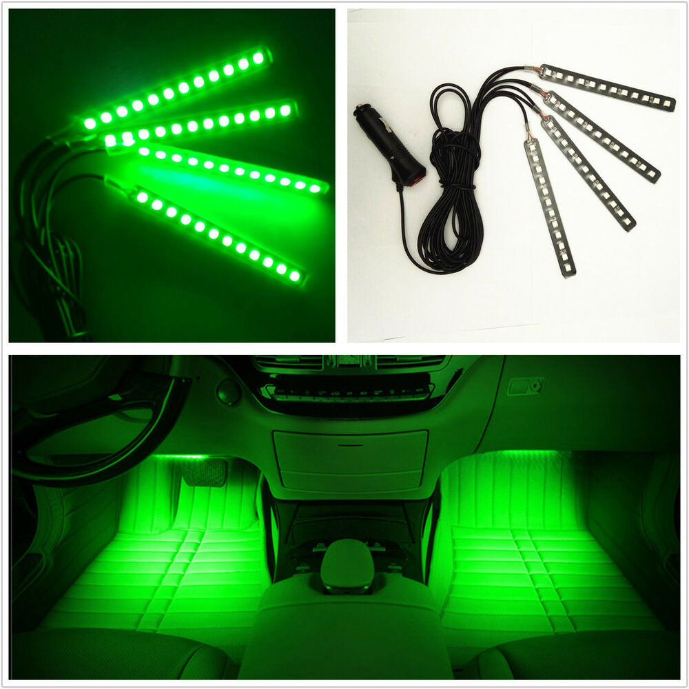 4 pcs 12 led green car foot well interior trim floor decorative atmosphere light ebay. Black Bedroom Furniture Sets. Home Design Ideas