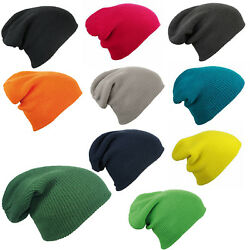 Slouch Knitted Knit Winter Warm Beanie Cap Hat in 10 Colours