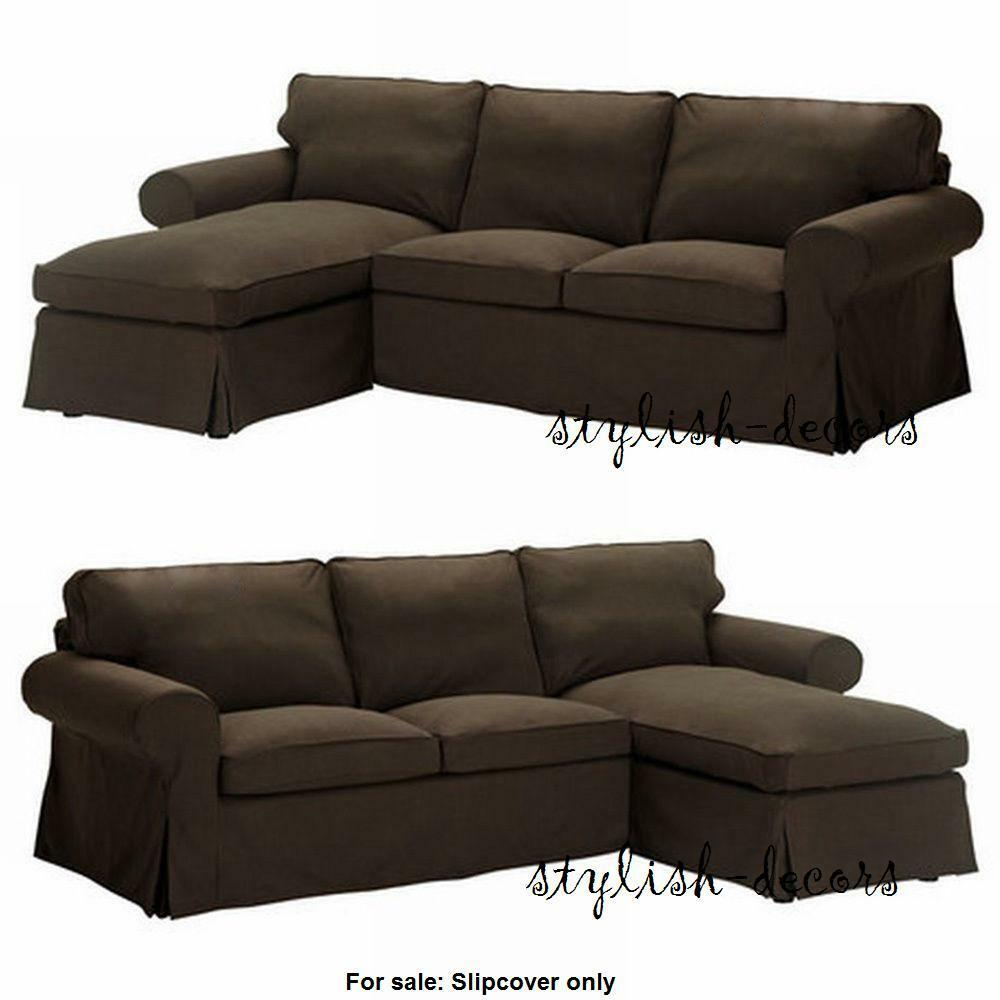 New Ikea Ektorp Cover For Loveseat With Chaise Lounge Svanby Brown Slipcover Ebay
