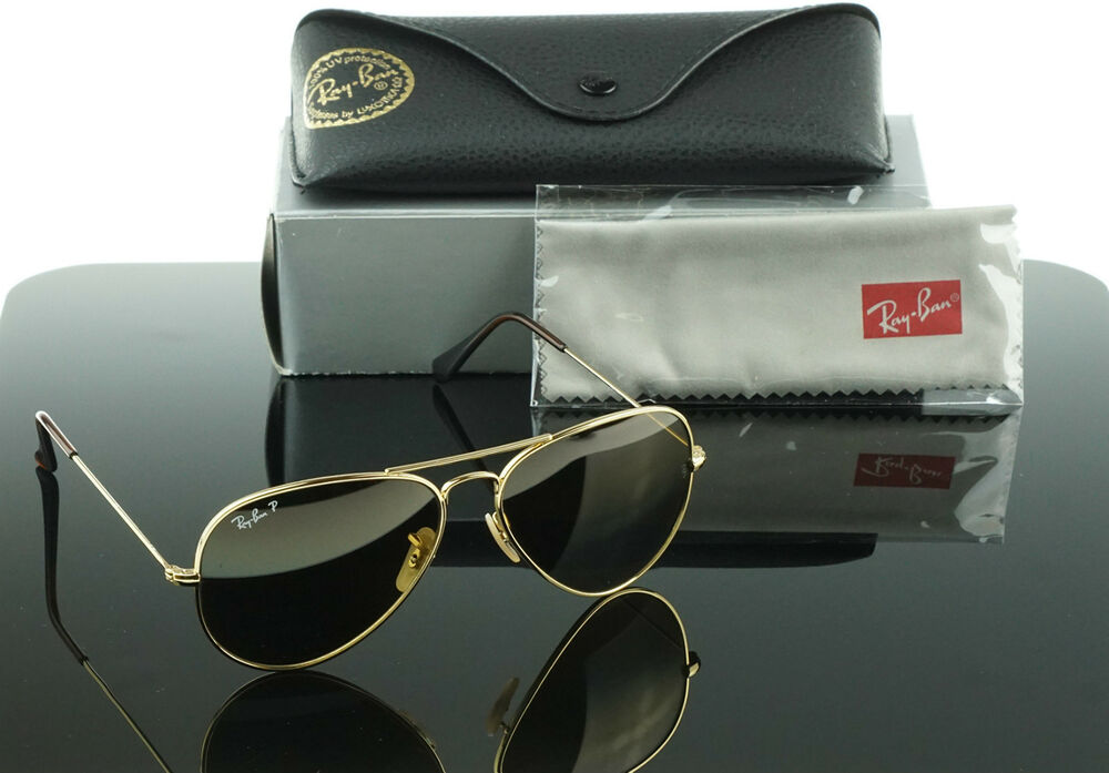 bbceede5c6 Details about RARE POLARIZED NEW Genuine RayBan TITANIUM Gold Sunglasses RB  8041 001 M2 58 MM