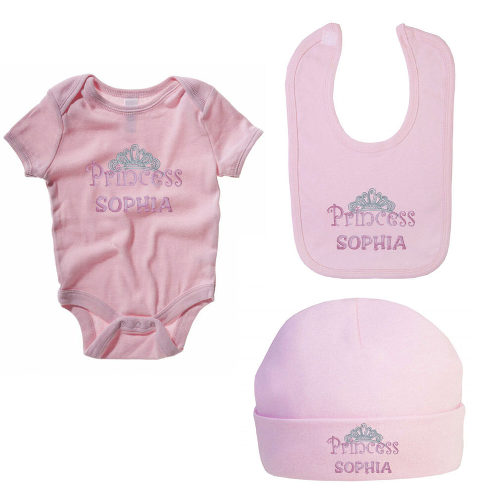 52e0c073a PERSONALISED EMBROIDERED PRINCESS BABY SET - Baby Grow   Bib ...