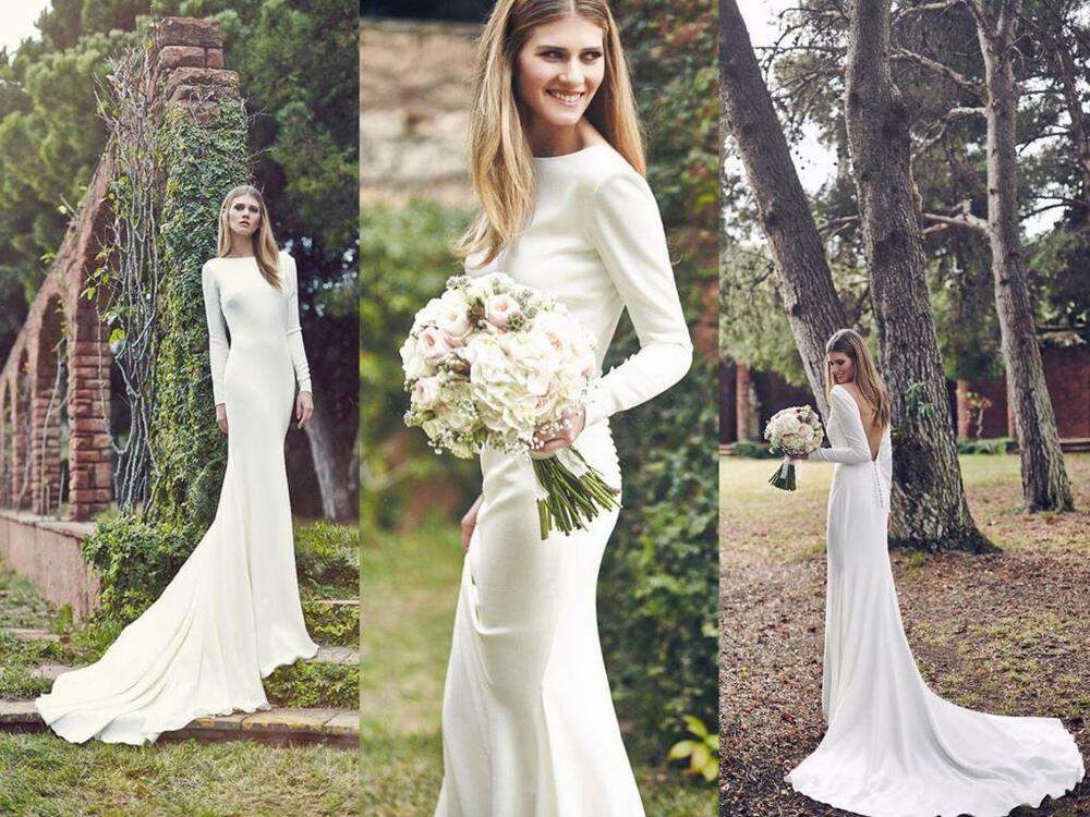 Simple fashion new 2016 spring wedding dresses long sleeve for Simple long sleeve wedding dresses