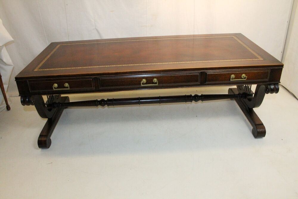 regency style solid mahogany leather top weiman coffee table ebay