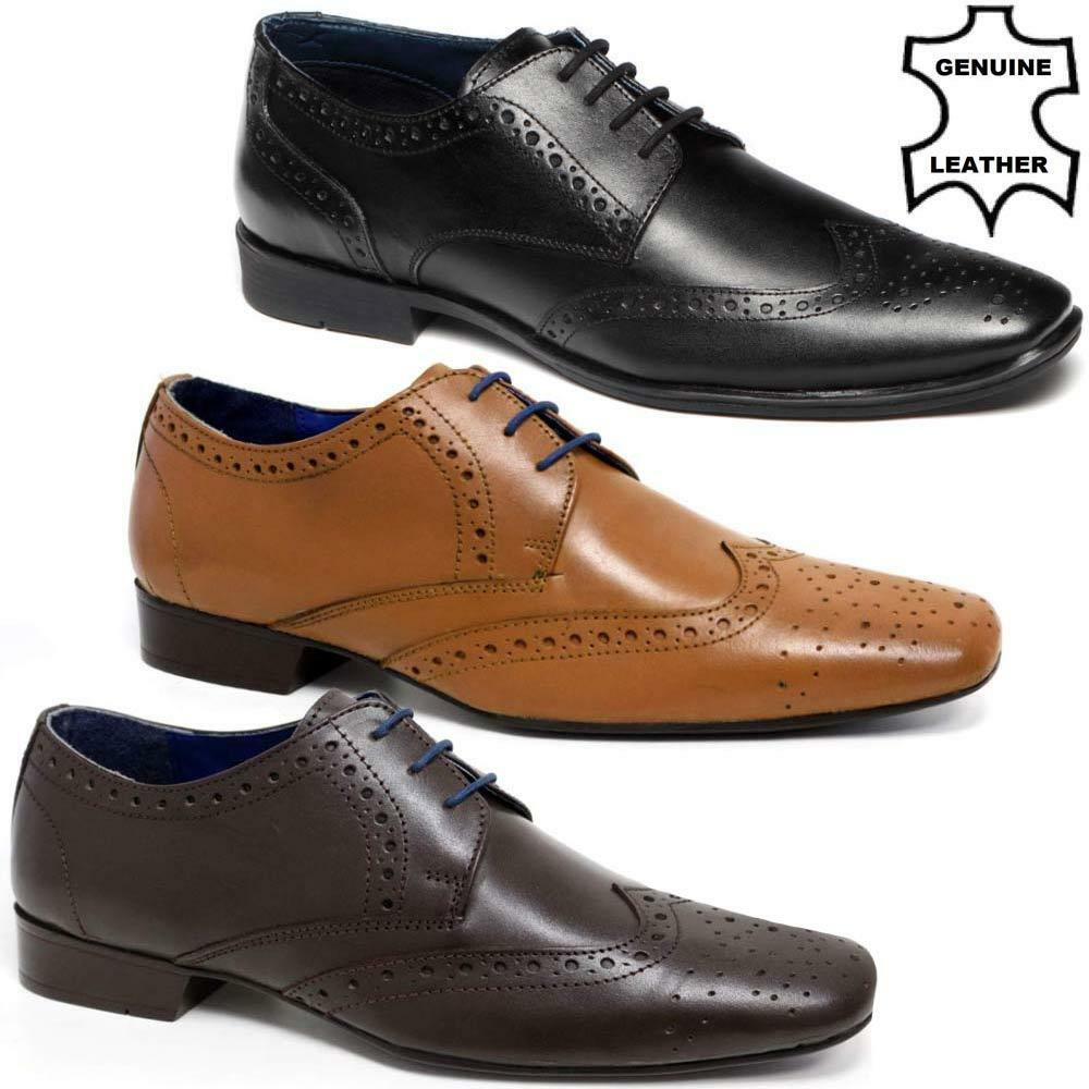 mens real leather lace up casual office smart formal