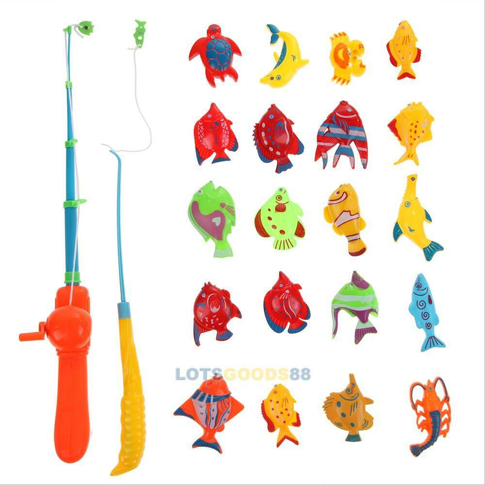 Educational fish game magnetic fishing pole rod 20pcs fish for Kids fishing game