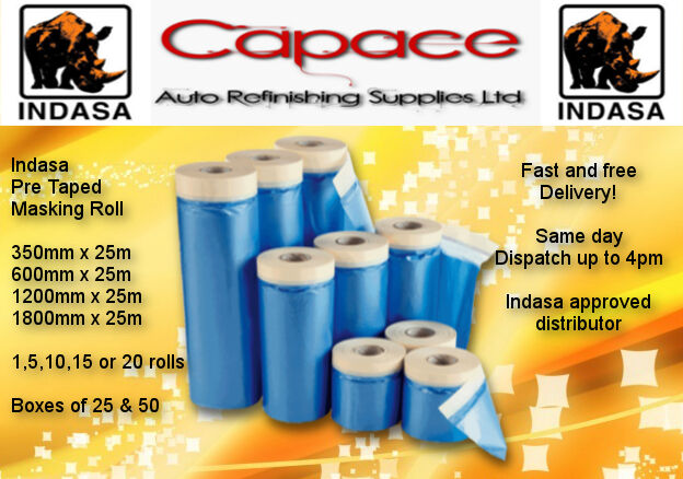 indasa various drop cover roll masking tape poly film sheet pre taped x 25m ebay
