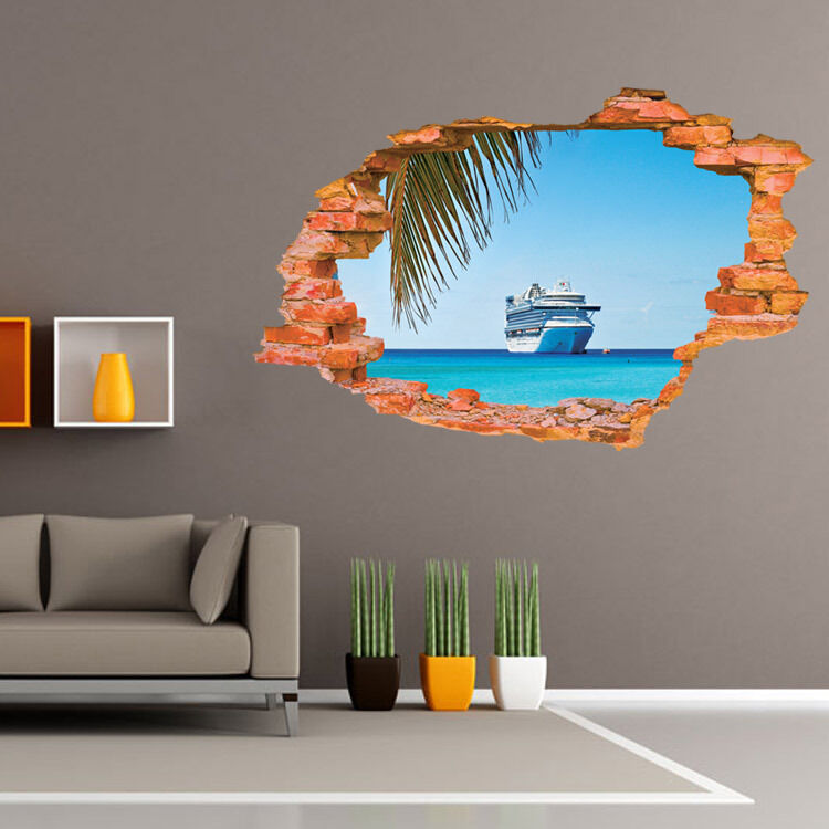 wandtattoo wandsticker panorama ausblick meer sea 3d ebay. Black Bedroom Furniture Sets. Home Design Ideas