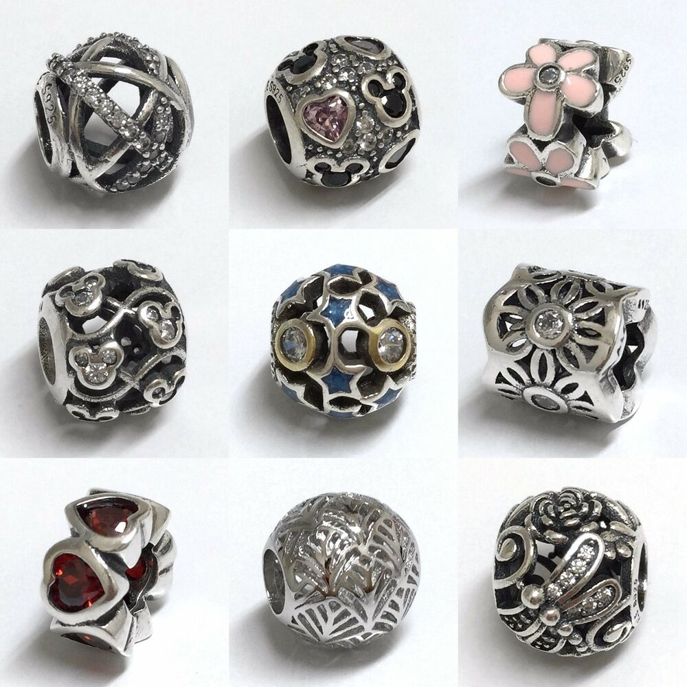 Bead Charms For Bracelets: S925 Solid Sterling Silver Beads Charms Spacer Fit