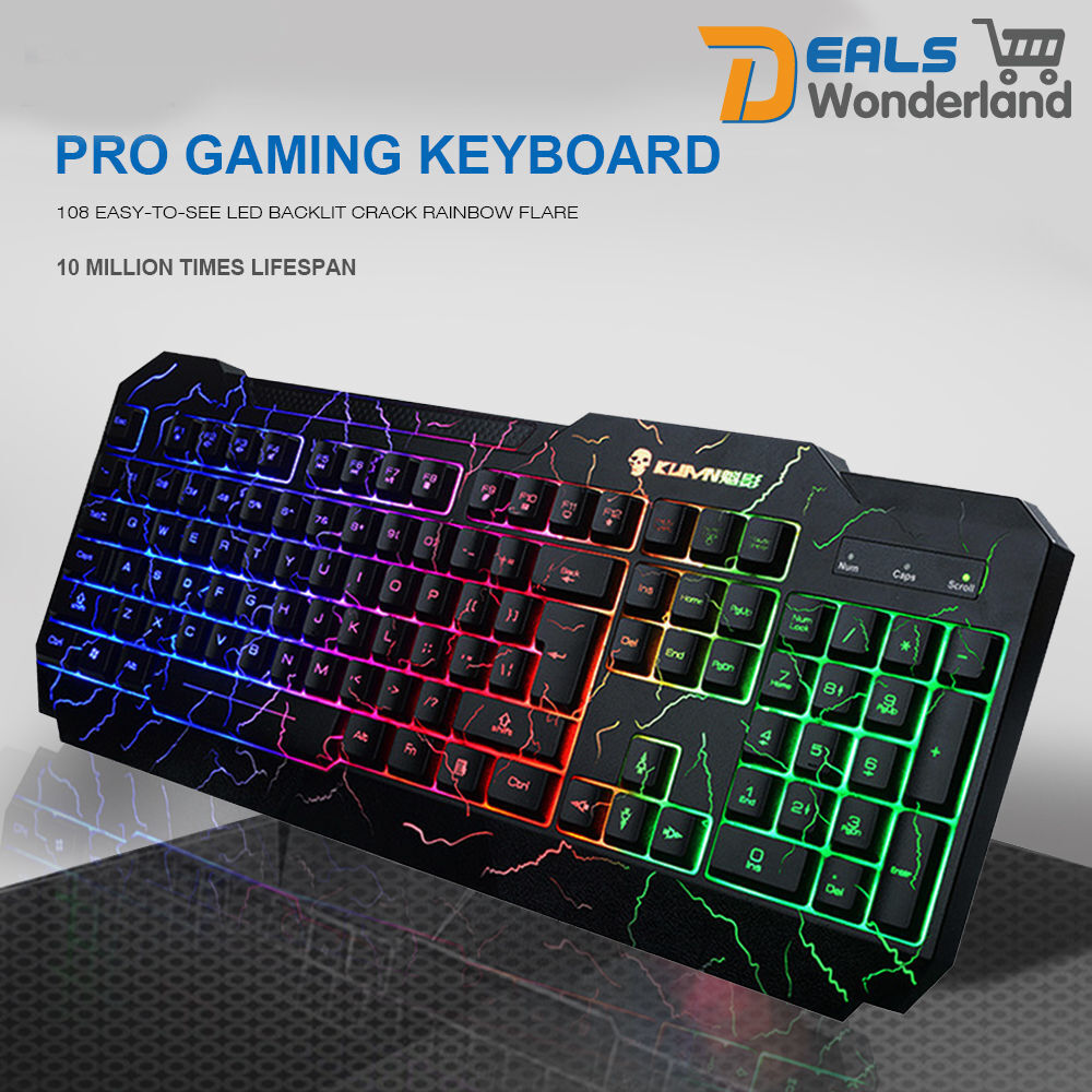 Colorful Crack LED Illuminated Backlit USB Wired PC Rainbow Gaming Keyboard | eBay