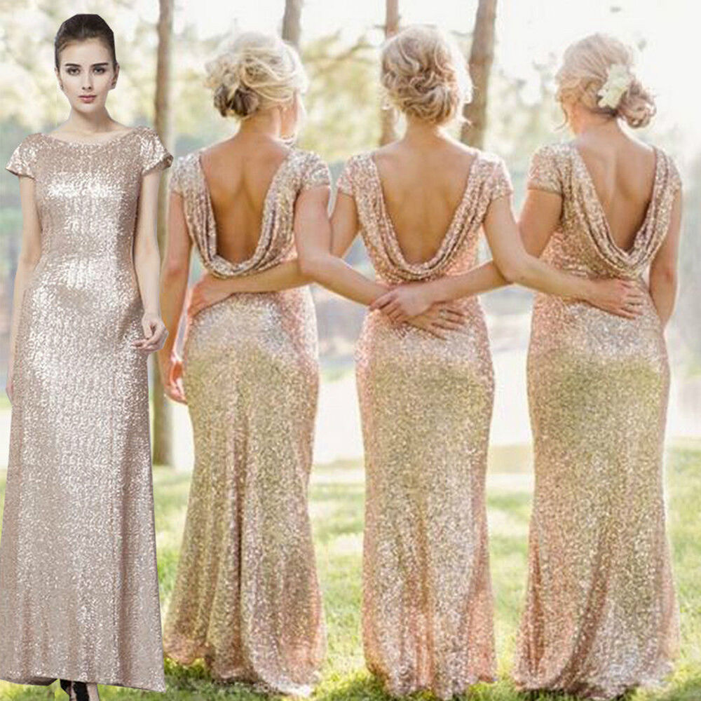 Cowl Back Bridesmaid Dress: New Cowl Back Sequin Formal Prom Ball Gowns Evening Party