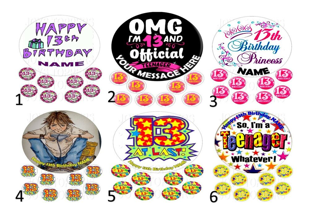 Details About 13th BIRTHDAY CAKE TOPPER 75 ROUND 8 EDIBLE ICED ICING FROSTING PERSONALISED