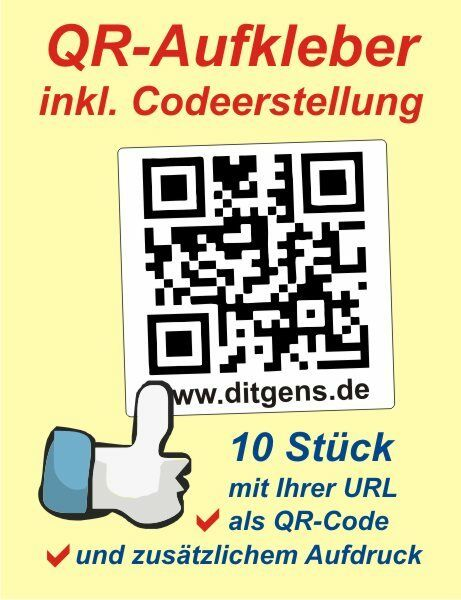 10 st ck qr code qr code ca 10 x 10 cm autoaufkleber. Black Bedroom Furniture Sets. Home Design Ideas