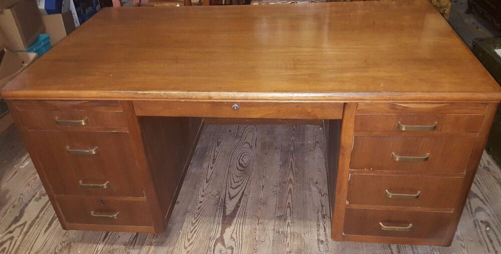 Vintage Solid Wood Leopold Executive Or Teachers Desk Big