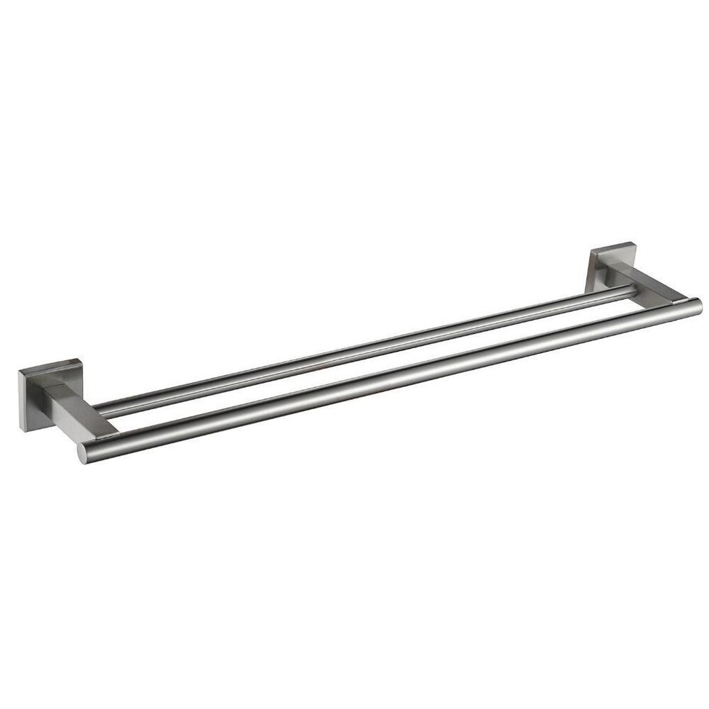 steel double towel bar square wall shelf rack brushed nickel ebay