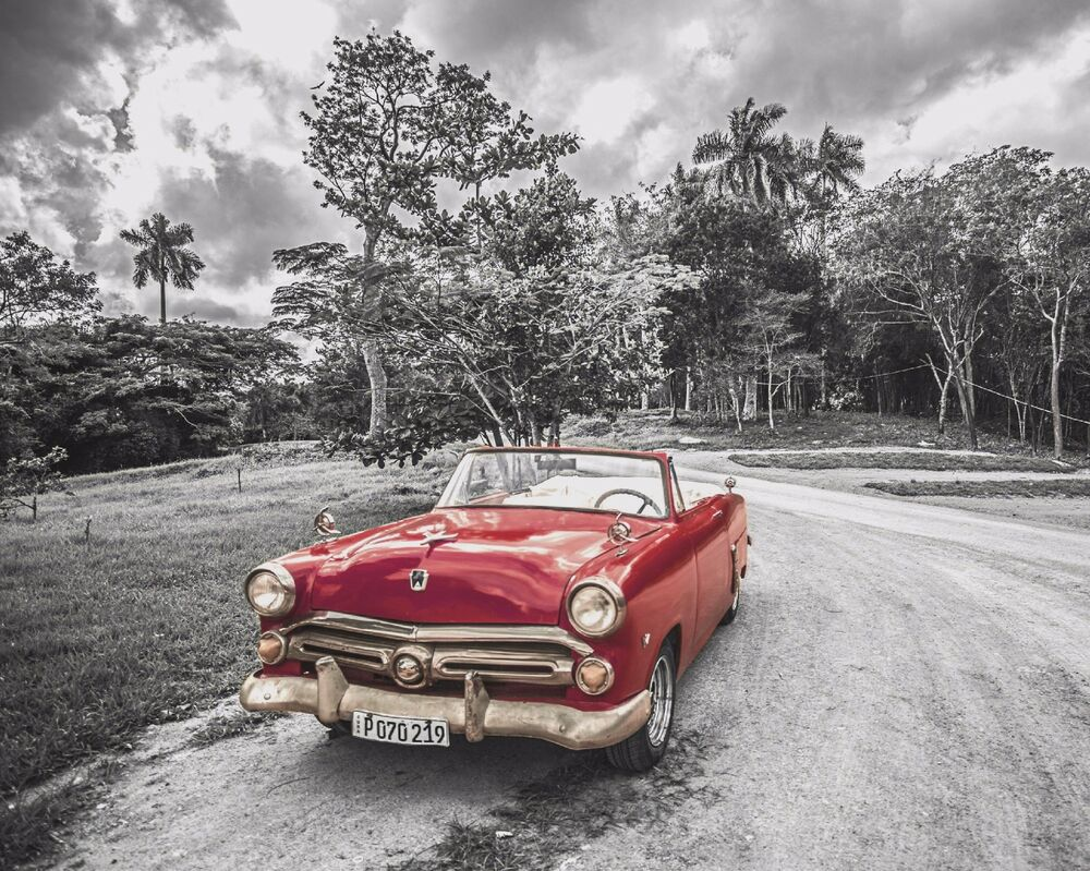 Red Gray Home Decor Antique Vintage Car Wall Art Photo