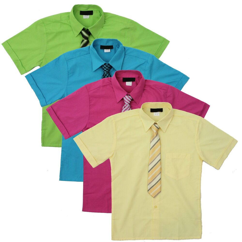 Boy 39 S Short Sleeve Dress Shirt With Tie Set Sizes 2t To 14