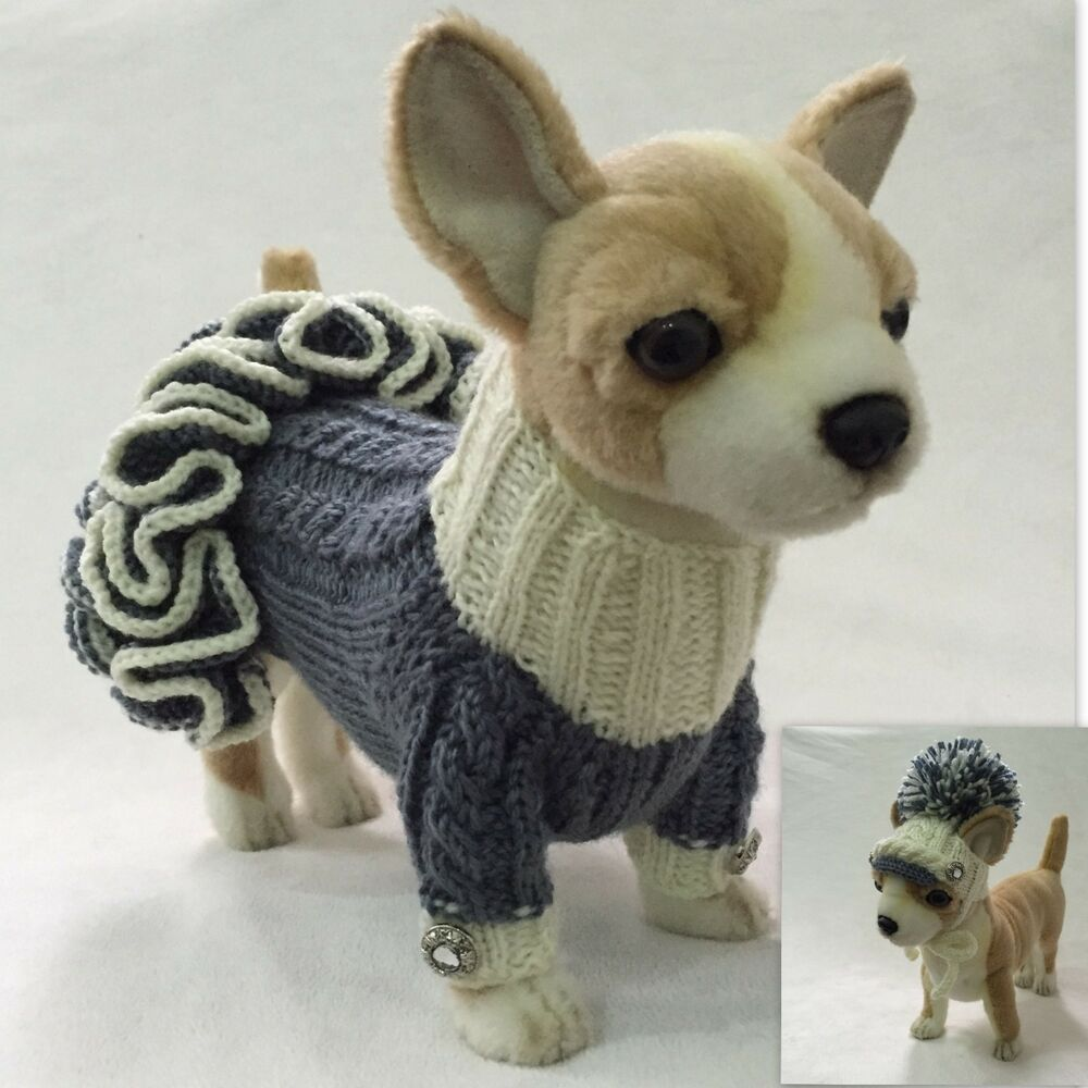 Knitting Patterns For Xxs Dogs : Handmade Knit Clothes Sweater Dress and Visor Hat for Dogs ...