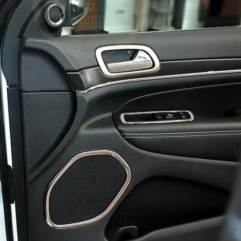 steel interior side door speaker cover trim 4x for jeep grand cherokee 2011 2016 ebay. Black Bedroom Furniture Sets. Home Design Ideas