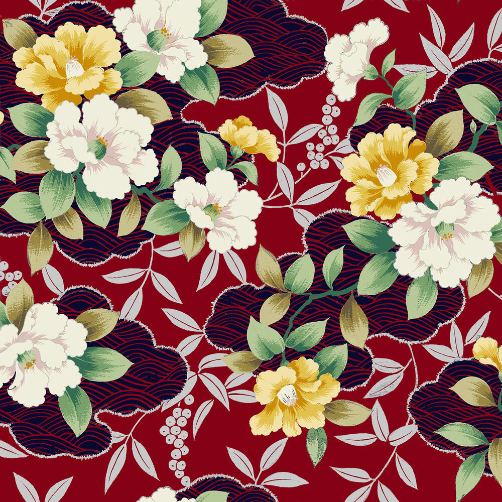 Quilt Gate Fabric Shiki Asian Flowers On Red with Silver ...
