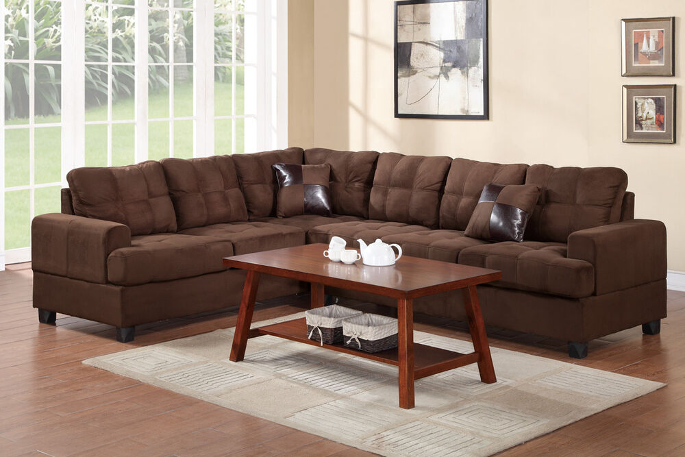 Plush Microfiber 2Pc Sectional Set Chocolate Sofa Loveseat Living Room Furnit