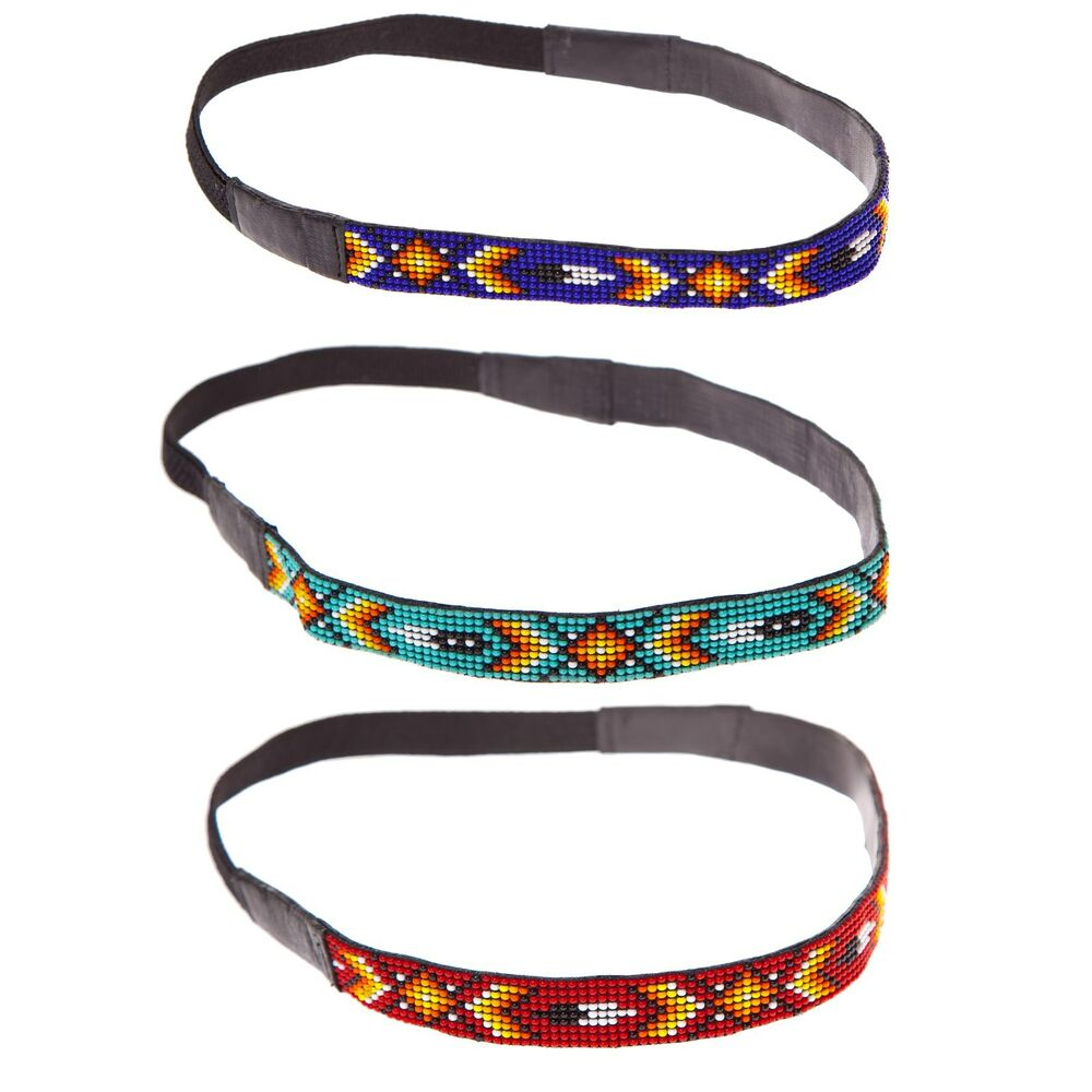 Women's Girl's Native Design Boho Chic Beaded Leather Headband -80442