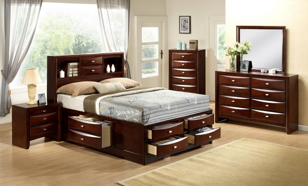Queen Storage Bed Bookcase Captains Headboard W 6 Drawers