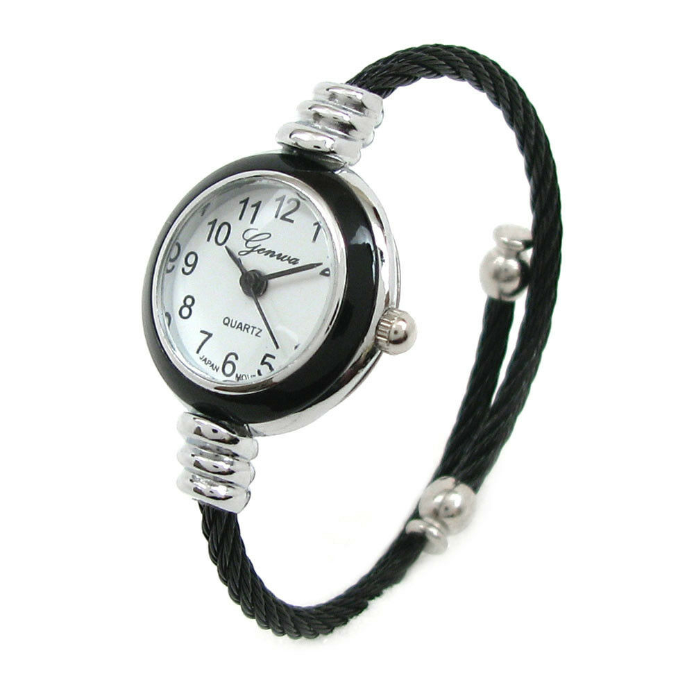 Black silver cable band ladies petite bangle cuff watch ebay for Ladies bangle watch