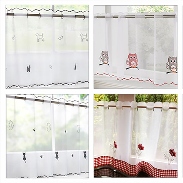 2016 Cafe Kitchen Curtains Voile Window Blind Curtain Owl: Voile / Net Cafe Curtain Panel In Dog, Owl, Cat, Poppy, Rooster, Seaside