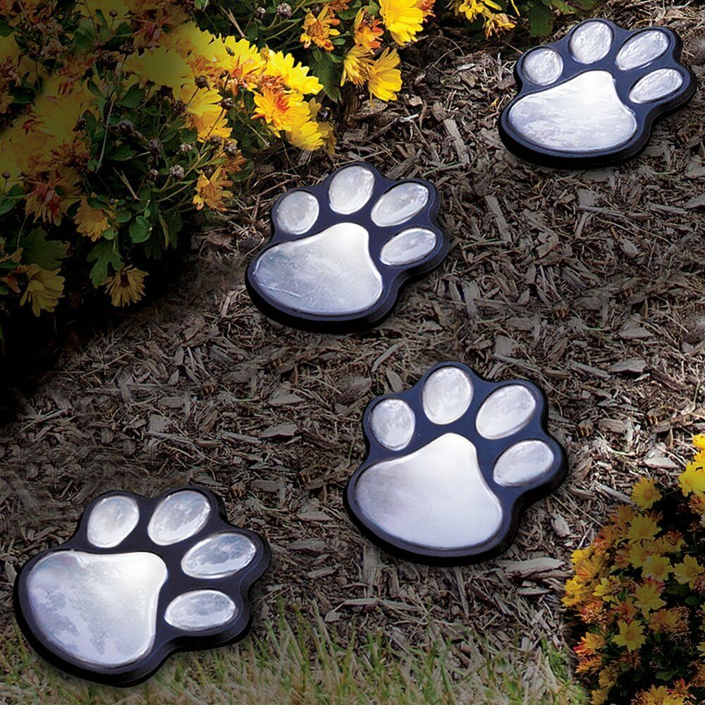 New set of 4 solar paw prints garden yard path outside for Outdoor decorating with solar lights
