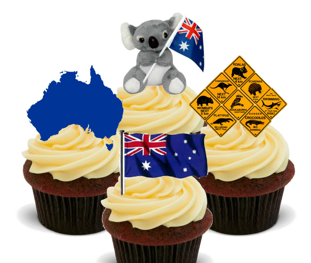 Photo Cake Images Edible : Australia Fun Edible Cup Cake Toppers, Stand-up Australian ...