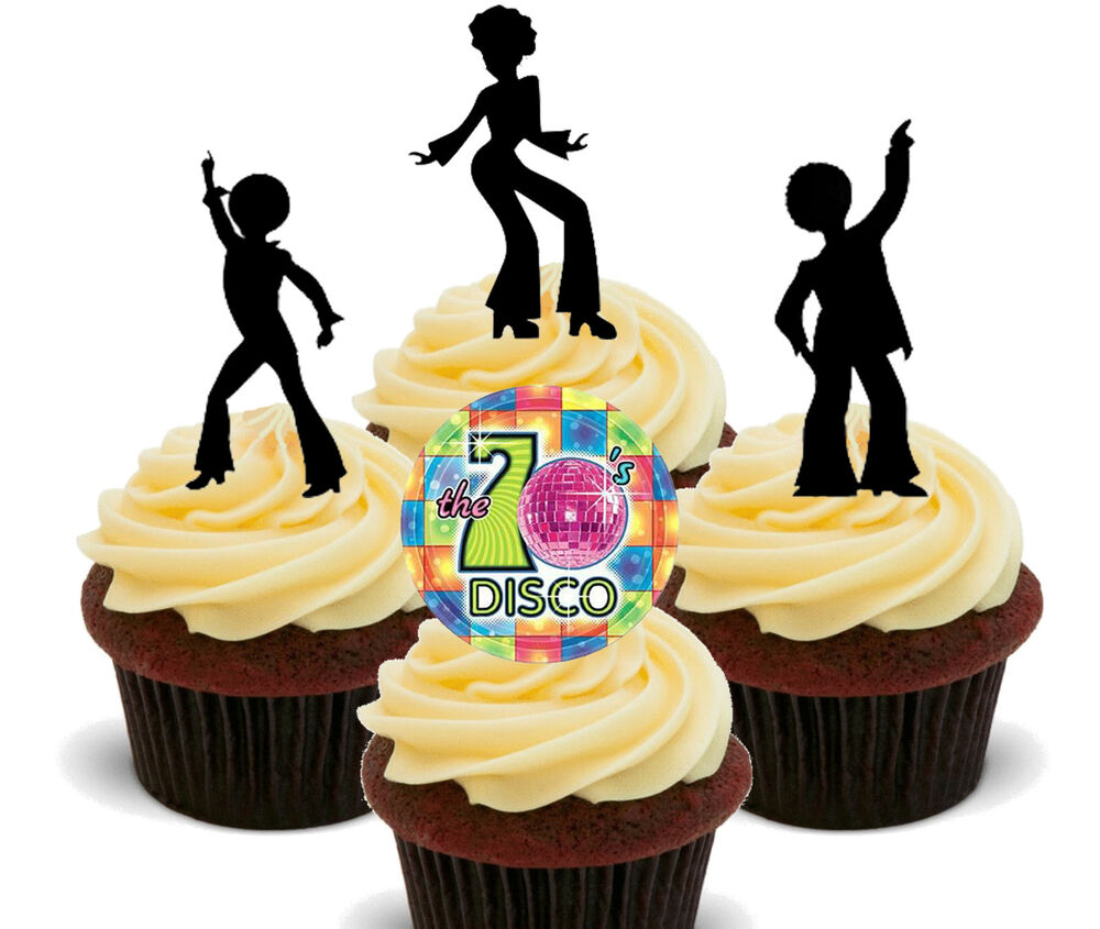 70s disco edible cupcake toppers stand up fairy cake for 70s decoration