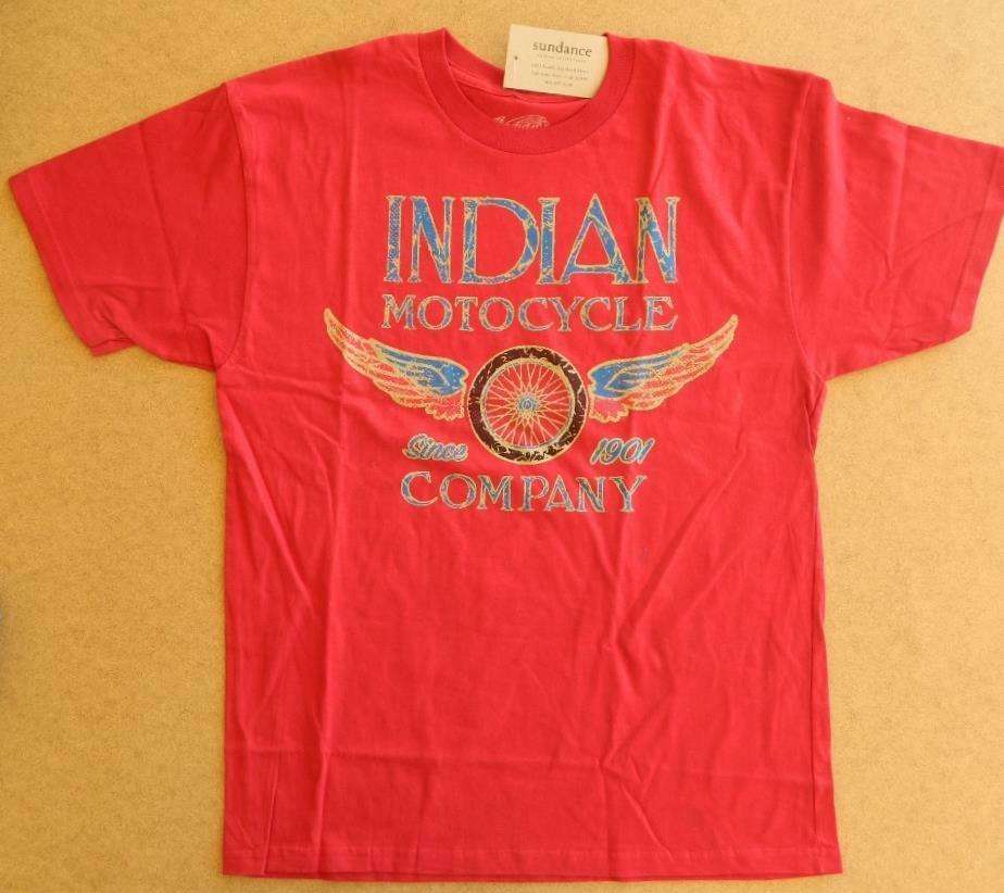 Nwt indian motorcycle company winged wheel red cotton tee for The red t shirt company