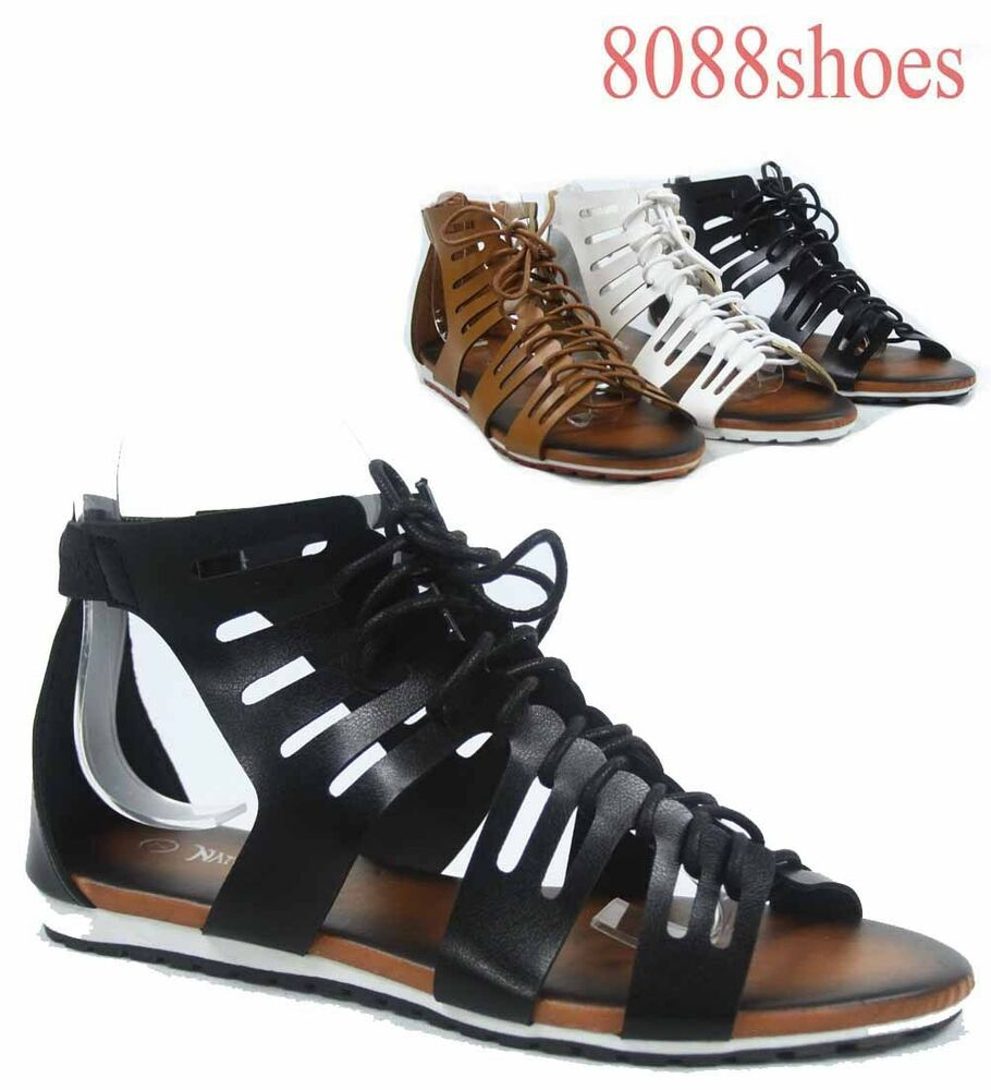 Women S Cute Fashion Strappy Cage Gladiator Lace Up Flat