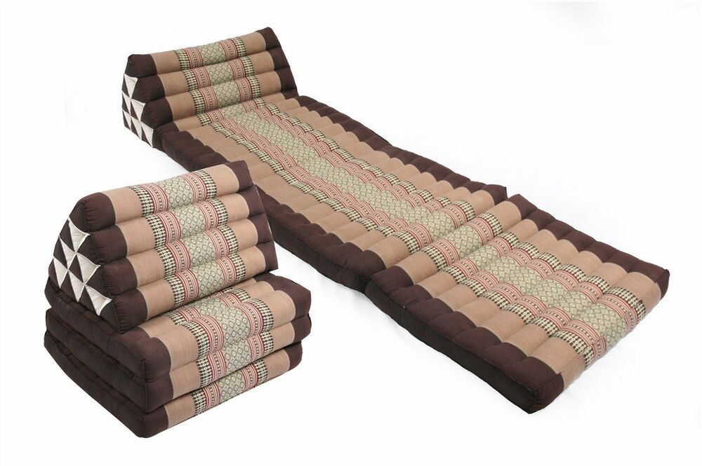 Triangle bed pair Kapok daybed pillow Thai cushion floor seat earthtones chill eBay