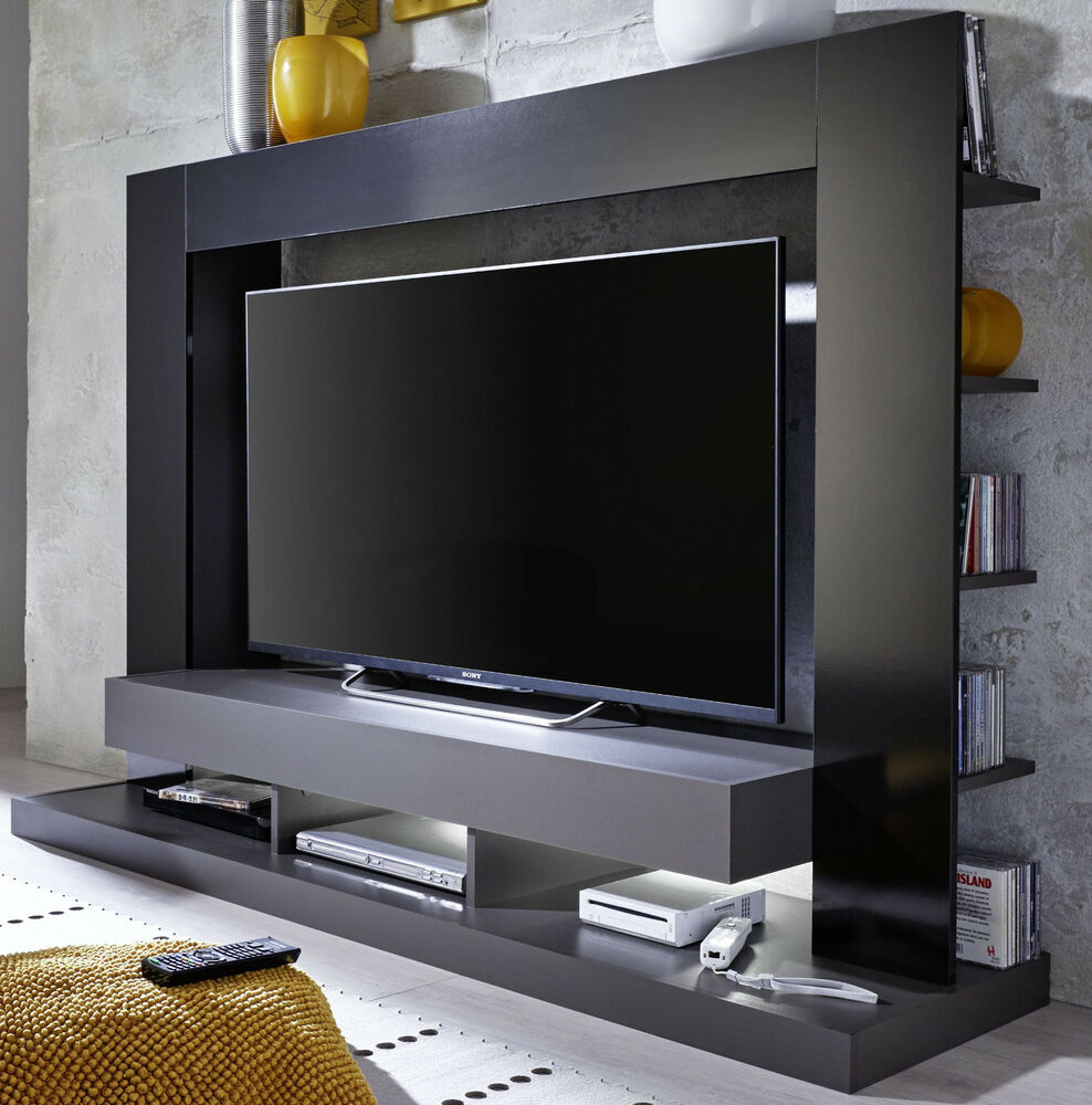 wohnwand fernseh schrank mediencenter schwarz glanz grau hifi tv m bel cyneplex ebay. Black Bedroom Furniture Sets. Home Design Ideas