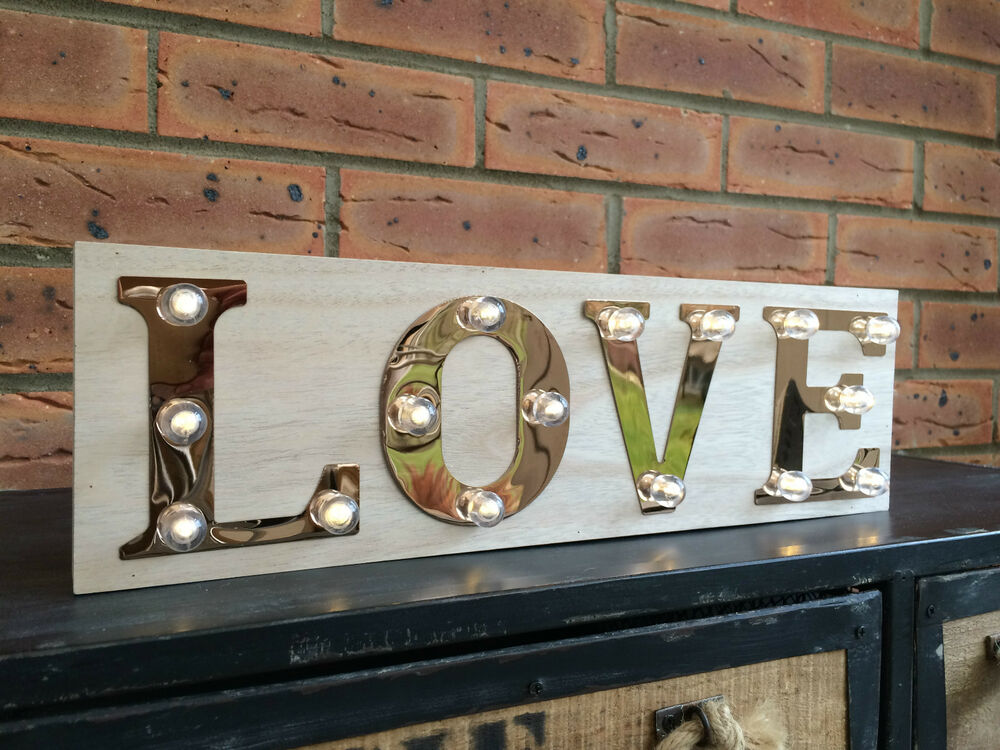 Love wooden light up sign carnival display plaque vintage