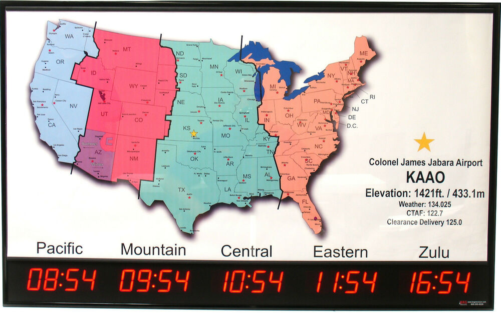 5 Zone - Digital LED Time Zone Clock with US Map