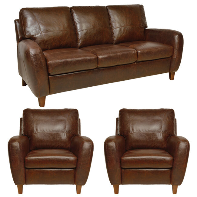 New Luke Leather Genuine Italian Leather 1 Sofa and 2