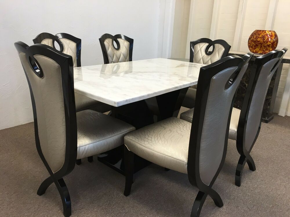 original marble dining table and chairs grand design unbeatable prices ebay. Black Bedroom Furniture Sets. Home Design Ideas