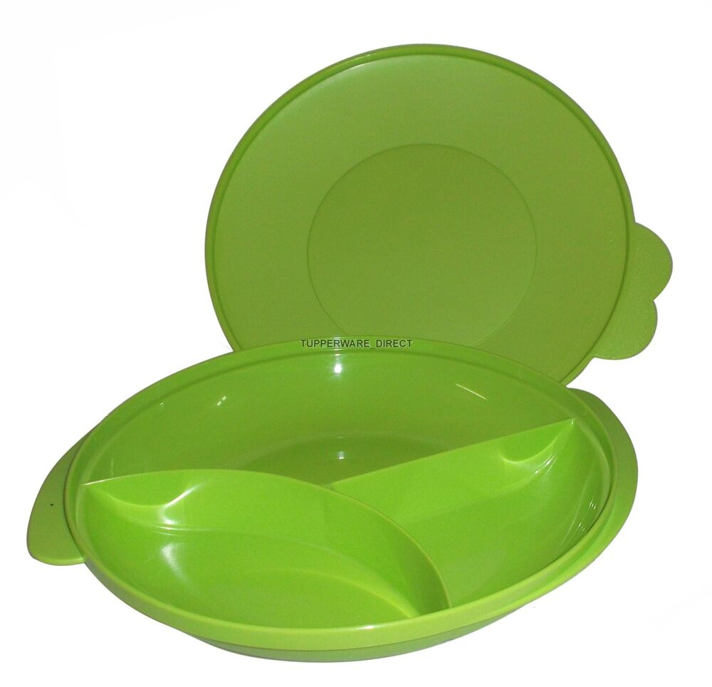 Sectioned Tupperware: Tupperware Green Divided Plate / Dish With Lid- Free