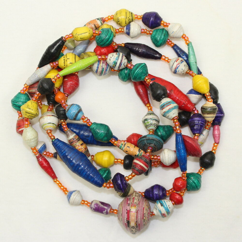 Necklace Beads: Paper Beads Necklace Papier Mache Bead For Life Multi