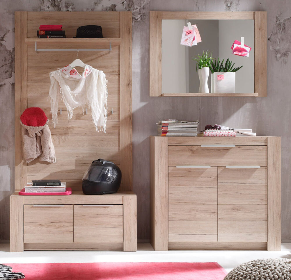 flur garderobe set garderobenset eiche san remo mit bank kommode paneel cougar ebay. Black Bedroom Furniture Sets. Home Design Ideas