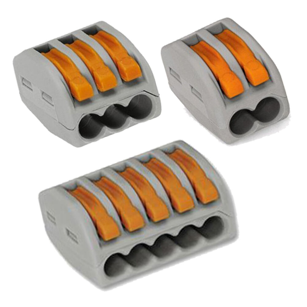 Electrical Wire Connectors : Wago spring lever push fit reuseable cable wire