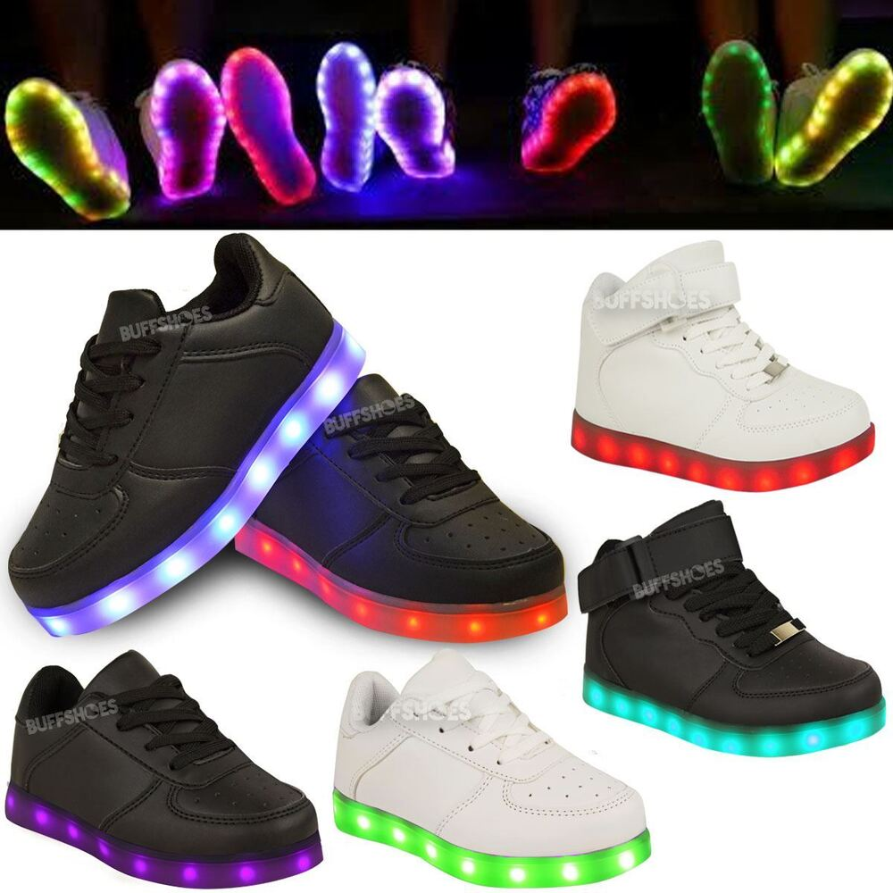 Kids Girls Trainers Flashing LED Luminous Lights USB ...